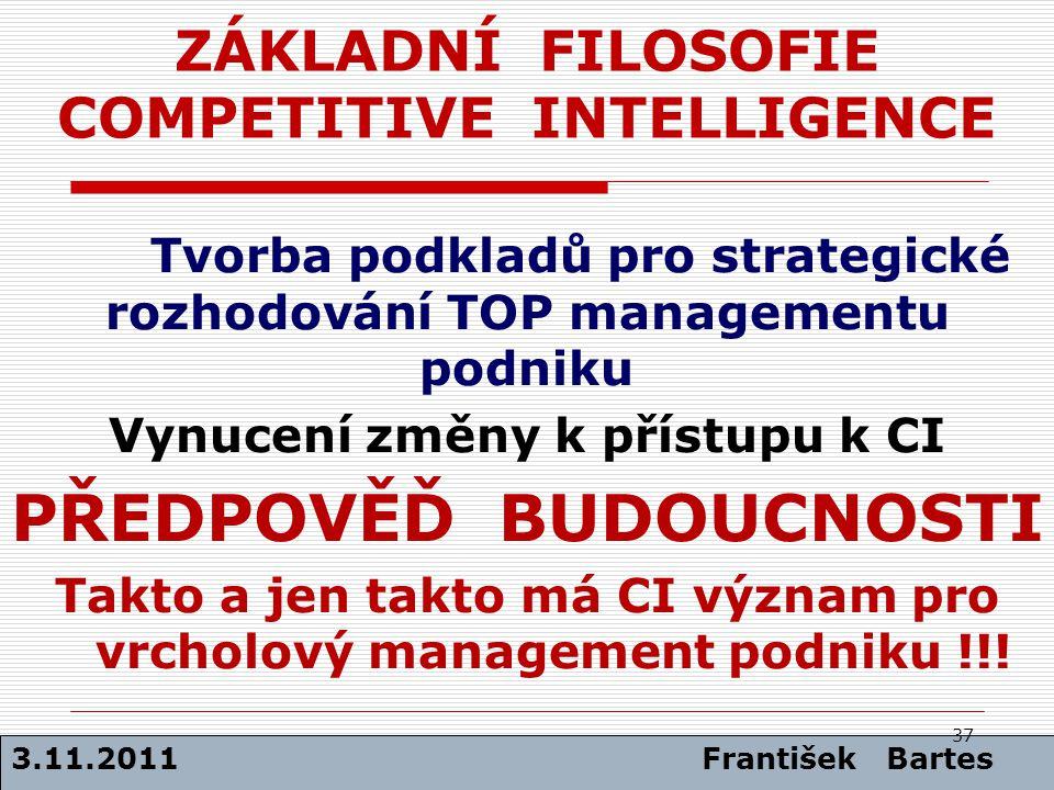 ZÁKLADNÍ FILOSOFIE COMPETITIVE INTELLIGENCE Tvorba podkladů pro strategické rozhodování TOP managementu podniku Vynucení změny k přístupu k CI PŘEDPOV