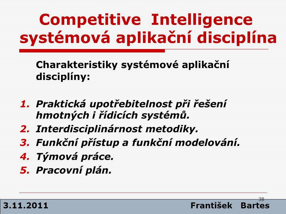 Competitive Intelligence systémová aplikační disciplína Charakteristiky systémové aplikační disciplíny: 1.Praktická upotřebitelnost při řešení hmotnýc