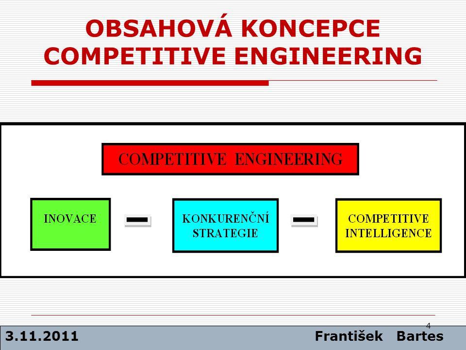 OBSAHOVÁ KONCEPCE COMPETITIVE ENGINEERING 3.11.2011 František Bartes 4