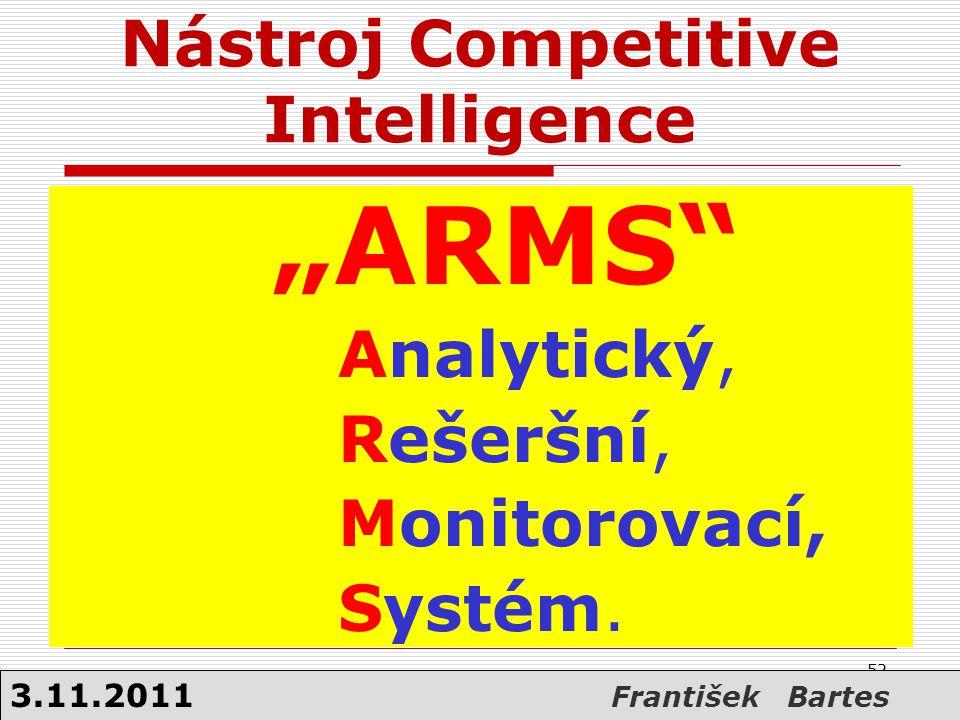 """Nástroj Competitive Intelligence """"ARMS"""" Analytický, Rešeršní, Monitorovací, Systém. 52 3.11.2011 František Bartes"""