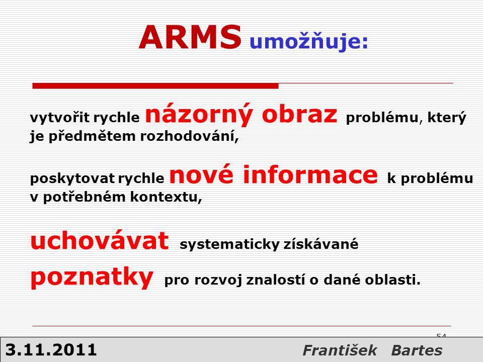 ARMS umožňuje: vytvořit rychle názorný obraz problému, který je předmětem rozhodování, poskytovat rychle nové informace k problému v potřebném kontext
