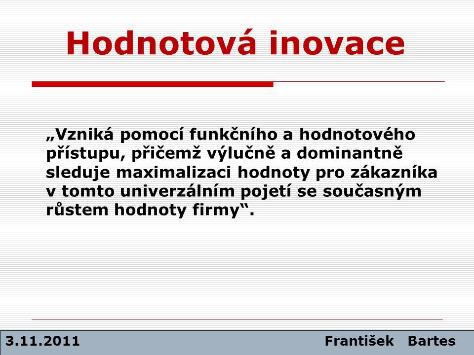 Hodnotová inovace 3.11.2011 František Bartes VELIKOST UŽITKU CELKOVÉ NÁKLADY HODNOTA= USPOKOJENÍ POTŘEB POUŽITÉ ZDROJE HODNOTA= [1] [2]
