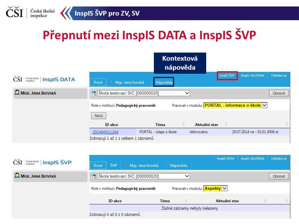 Přepnutí mezi InspIS DATA a InspIS ŠVP Kontextová nápověda InspIS ŠVP pro ZV, SV