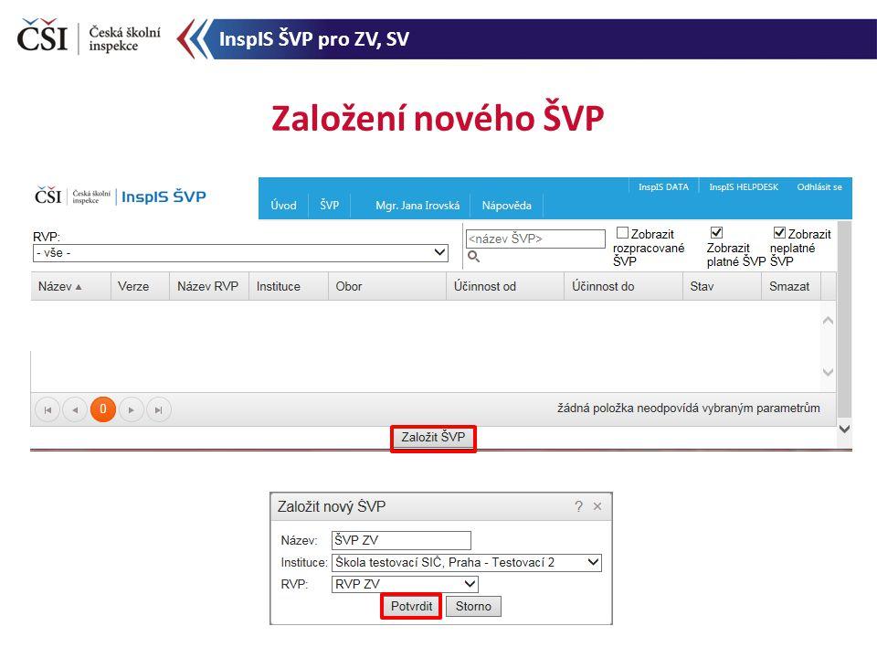 Založení nového ŠVP InspIS ŠVP pro ZV, SV
