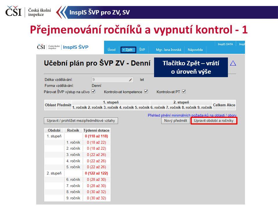 Přejmenování ročníků a vypnutí kontrol - 1 Tlačítko Zpět – vrátí o úroveň výše InspIS ŠVP pro ZV, SV