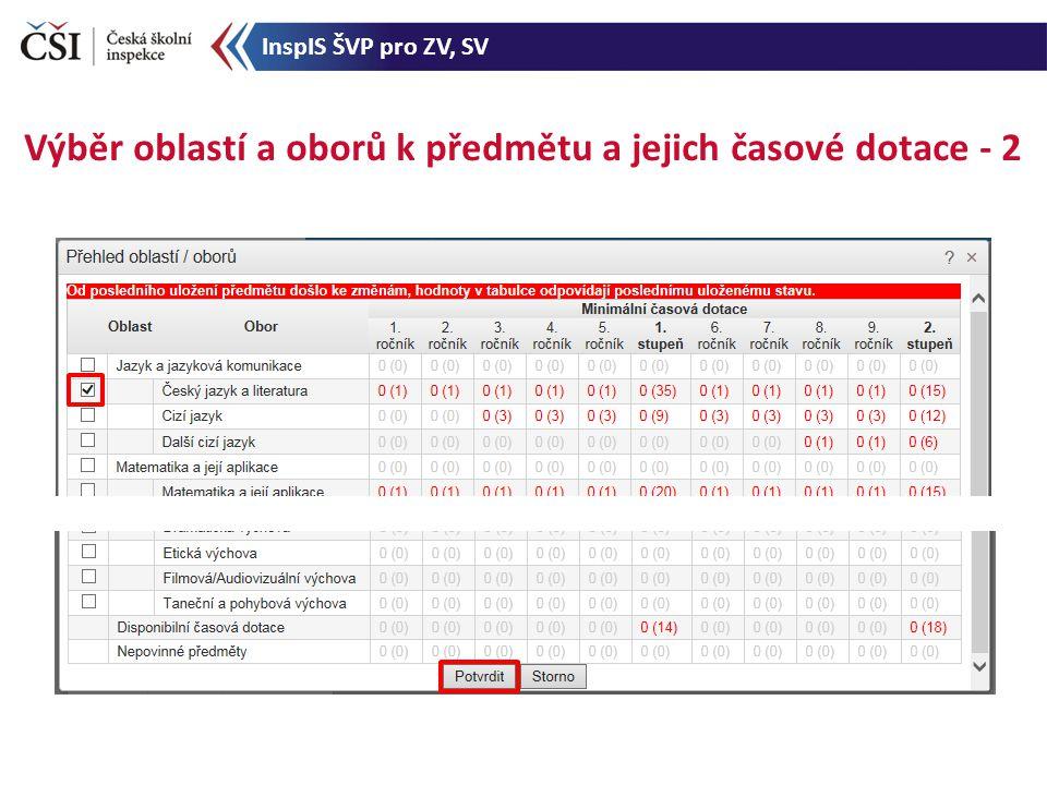 Výběr oblastí a oborů k předmětu a jejich časové dotace - 2 InspIS ŠVP pro ZV, SV