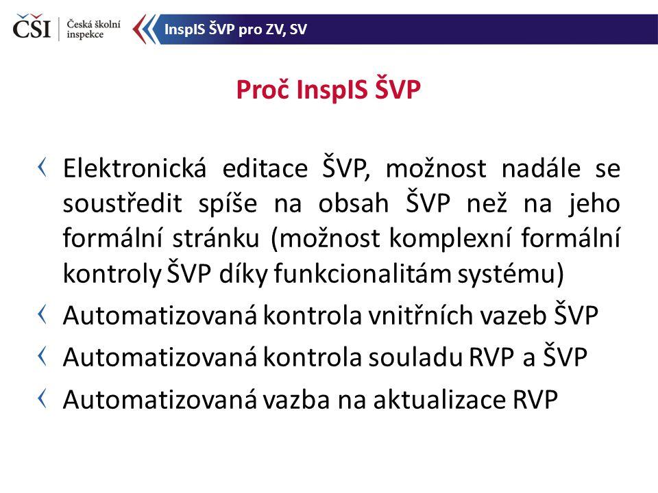 Elektronická editace ŠVP, možnost nadále se soustředit spíše na obsah ŠVP než na jeho formální stránku (možnost komplexní formální kontroly ŠVP díky funkcionalitám systému) Automatizovaná kontrola vnitřních vazeb ŠVP Automatizovaná kontrola souladu RVP a ŠVP Automatizovaná vazba na aktualizace RVP Proč InspIS ŠVP InspIS ŠVP pro ZV, SV