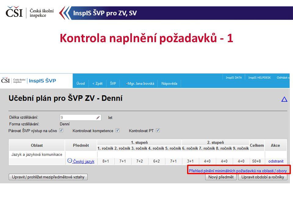 Kontrola naplnění požadavků - 1 InspIS ŠVP pro ZV, SV