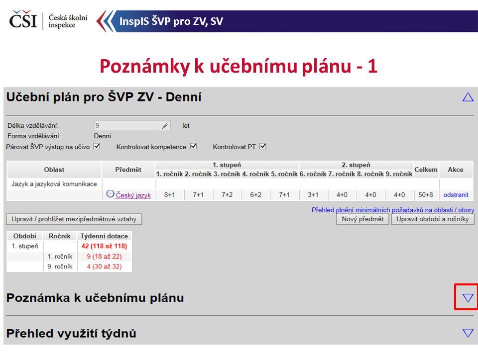 Poznámky k učebnímu plánu - 1 InspIS ŠVP pro ZV, SV