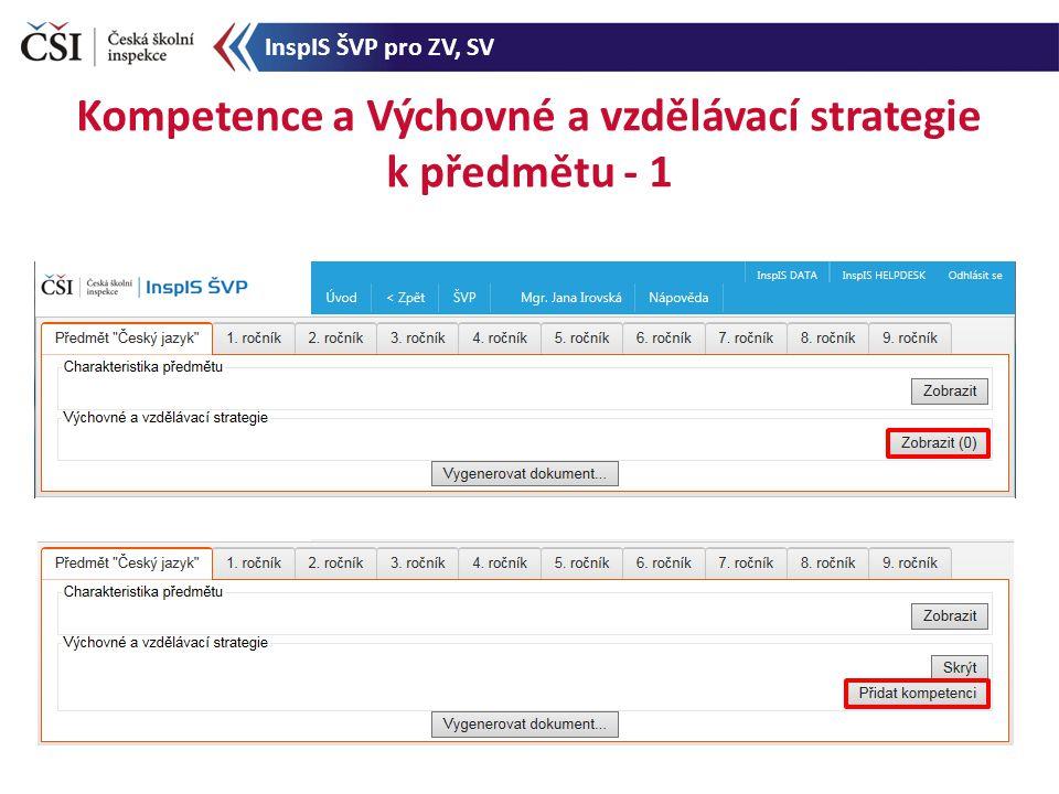 Kompetence a Výchovné a vzdělávací strategie k předmětu - 1 InspIS ŠVP pro ZV, SV