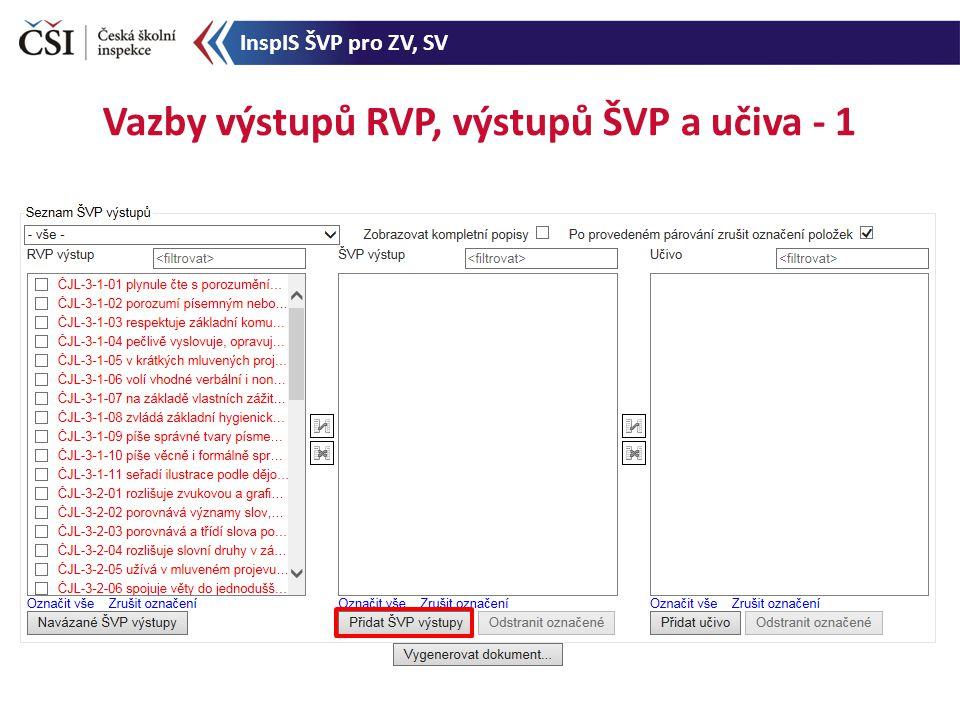 Vazby výstupů RVP, výstupů ŠVP a učiva - 1 InspIS ŠVP pro ZV, SV