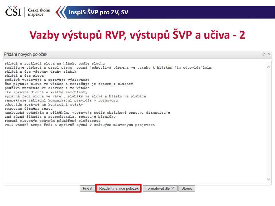 Vazby výstupů RVP, výstupů ŠVP a učiva - 2 InspIS ŠVP pro ZV, SV