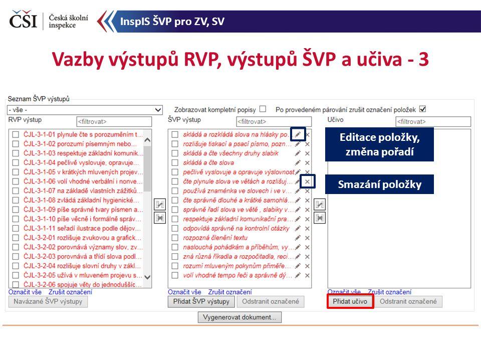 Vazby výstupů RVP, výstupů ŠVP a učiva - 3 Editace položky, změna pořadí Smazání položky InspIS ŠVP pro ZV, SV