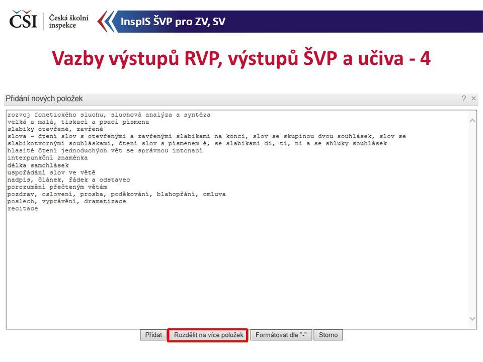 Vazby výstupů RVP, výstupů ŠVP a učiva - 4 InspIS ŠVP pro ZV, SV