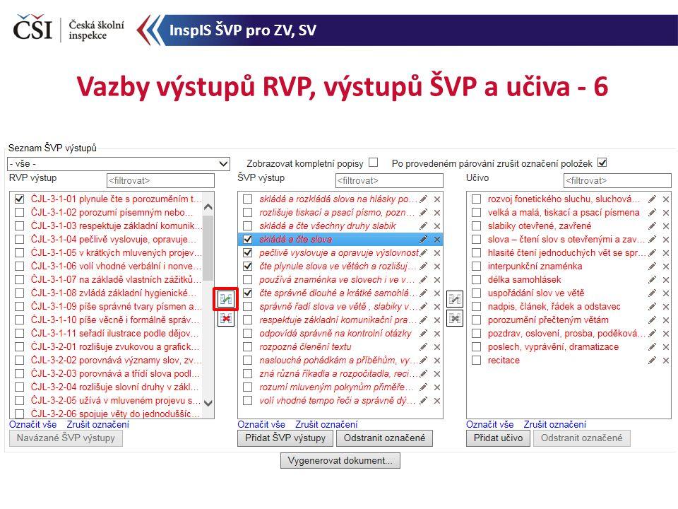 Vazby výstupů RVP, výstupů ŠVP a učiva - 6 InspIS ŠVP pro ZV, SV