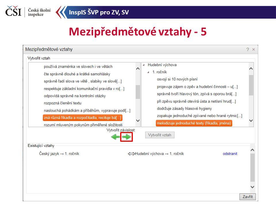Mezipředmětové vztahy - 5 InspIS ŠVP pro ZV, SV