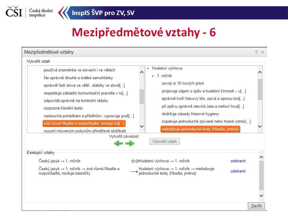 Mezipředmětové vztahy - 6 InspIS ŠVP pro ZV, SV