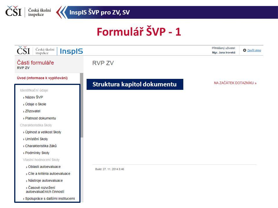 Formulář ŠVP - 1 Struktura kapitol dokumentu InspIS ŠVP pro ZV, SV