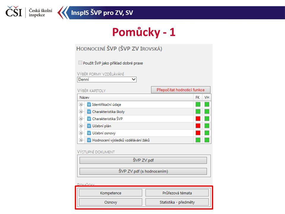Pomůcky - 1 InspIS ŠVP pro ZV, SV