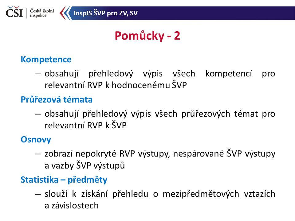 Pomůcky - 2 Kompetence – obsahují přehledový výpis všech kompetencí pro relevantní RVP k hodnocenému ŠVP Průřezová témata – obsahují přehledový výpis