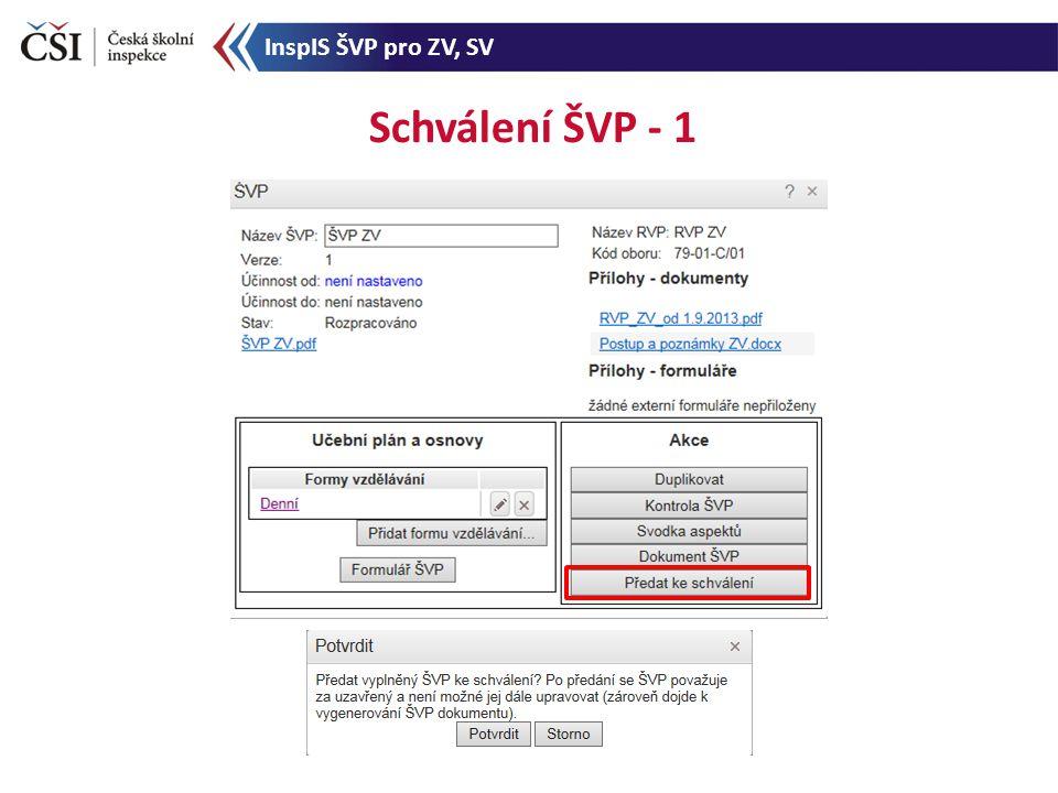 Schválení ŠVP - 1 InspIS ŠVP pro ZV, SV