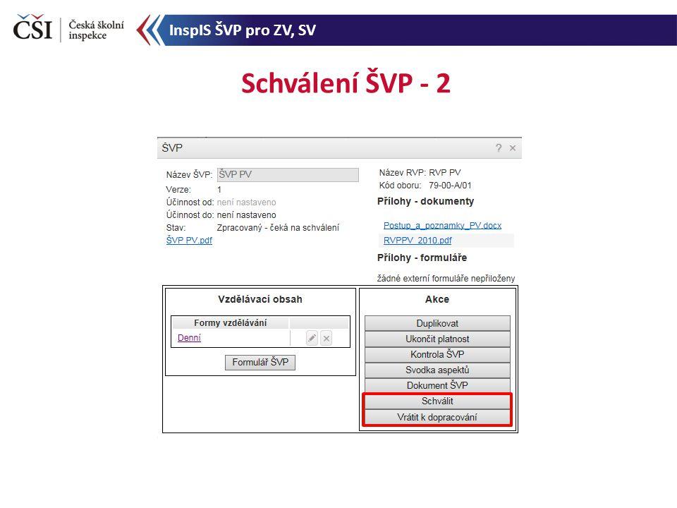 Schválení ŠVP - 2 InspIS ŠVP pro ZV, SV