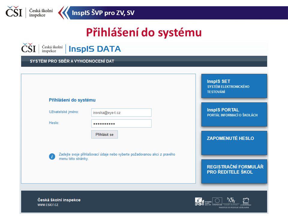 Přihlášení do systému InspIS ŠVP pro ZV, SV