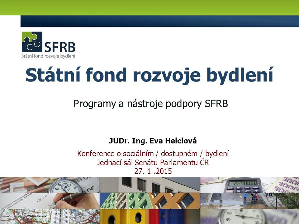 SFRB již 15 let napomáhá rozvoji bydlení v České republice podporuje obecní a soukromé investice na výstavbu, opravy a modernizace bytů a bytových domů plní Koncepci bydlení ČR do roku 2020 z programů SFRB bylo již revitalizováno: -400 tisíc bytů z předchozího dotačního programu Panel za 13,9 mld.