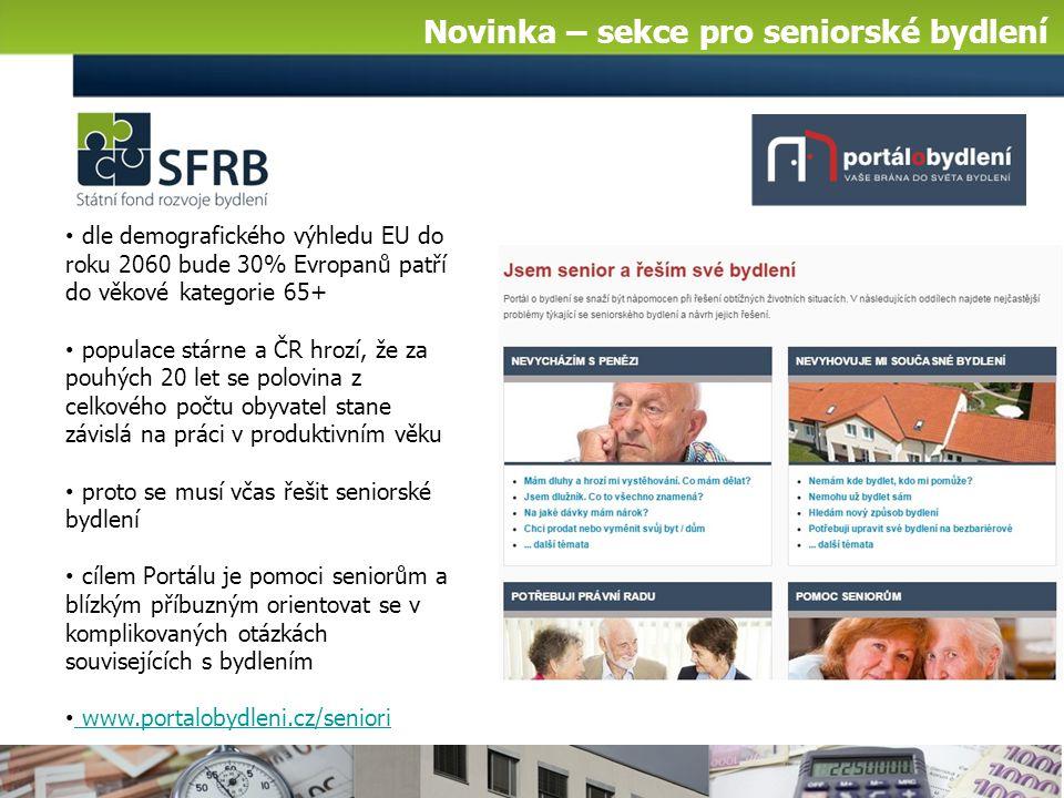 Novinka – sekce pro seniorské bydlení dle demografického výhledu EU do roku 2060 bude 30% Evropanů patří do věkové kategorie 65+ populace stárne a ČR