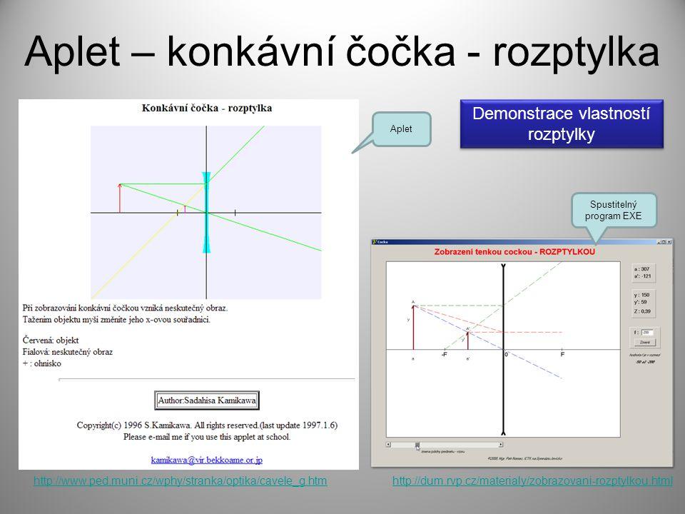 Aplet – konkávní čočka - rozptylka http://www.ped.muni.cz/wphy/stranka/optika/cavele_g.htmhttp://dum.rvp.cz/materialy/zobrazovani-rozptylkou.html Aple