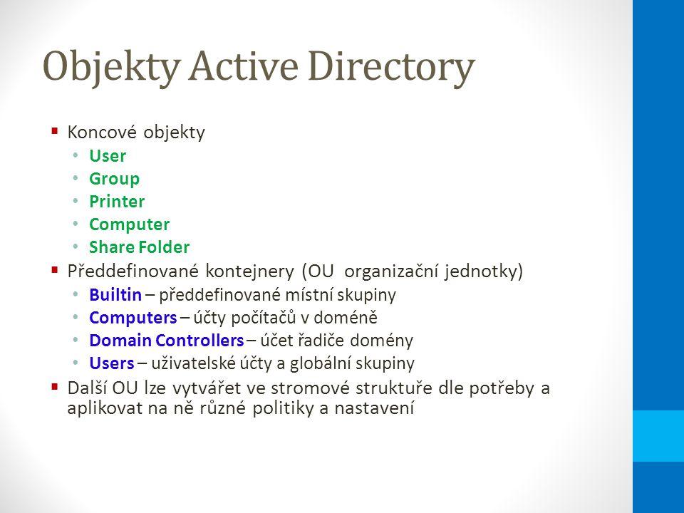 Objekty Active Directory  Koncové objekty User Group Printer Computer Share Folder  Předdefinované kontejnery (OU organizační jednotky) Builtin – předdefinované místní skupiny Computers – účty počítačů v doméně Domain Controllers – účet řadiče domény Users – uživatelské účty a globální skupiny  Další OU lze vytvářet ve stromové struktuře dle potřeby a aplikovat na ně různé politiky a nastavení