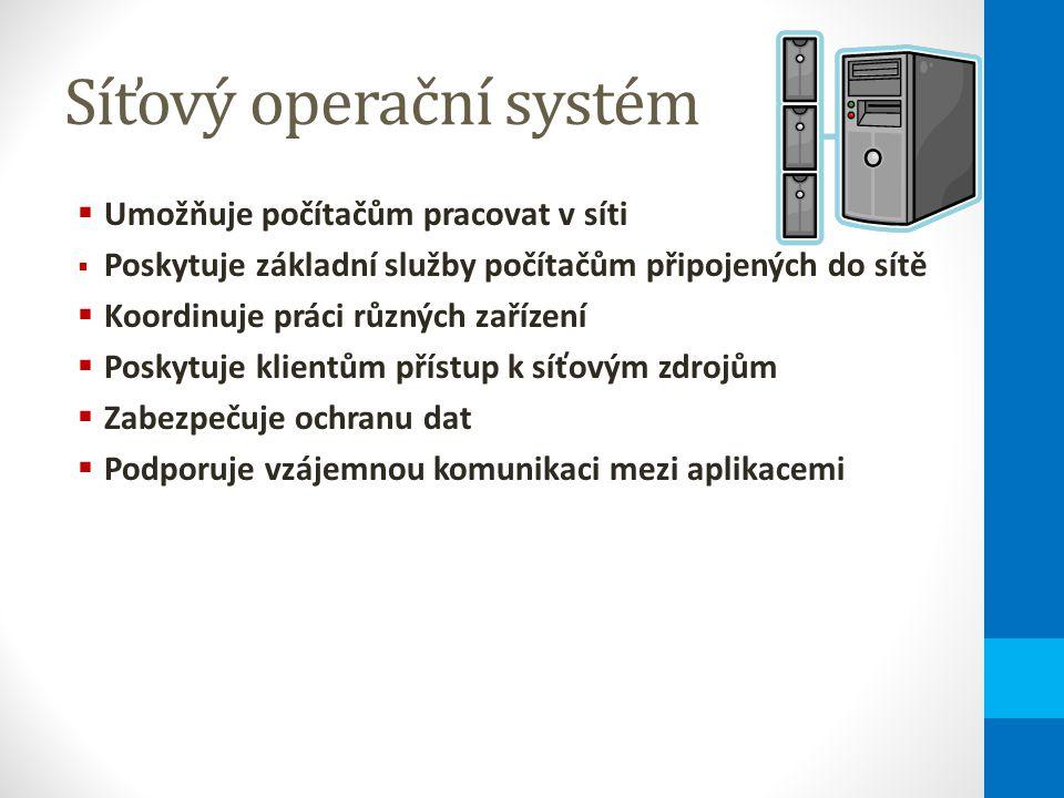 Síťový operační systém  Umožňuje počítačům pracovat v síti  Poskytuje základní služby počítačům připojených do sítě  Koordinuje práci různých zařízení  Poskytuje klientům přístup k síťovým zdrojům  Zabezpečuje ochranu dat  Podporuje vzájemnou komunikaci mezi aplikacemi