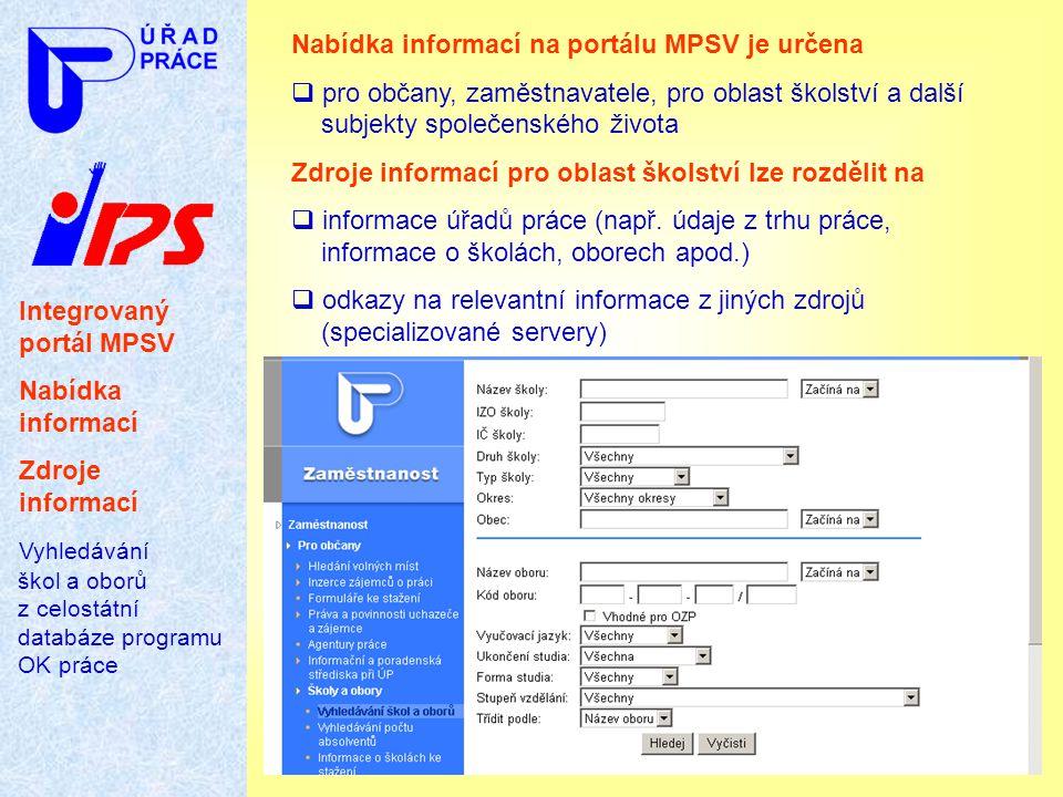 Integrovaný portál MPSV Nabídka informací Zdroje informací Vyhledávání škol a oborů z celostátní databáze programu OK práce Nabídka informací na portá