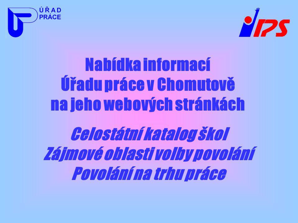 Nabídka informací Úřadu práce v Chomutově na jeho webových stránkách Celostátní katalog škol Zájmové oblasti volby povolání Povolání na trhu práce