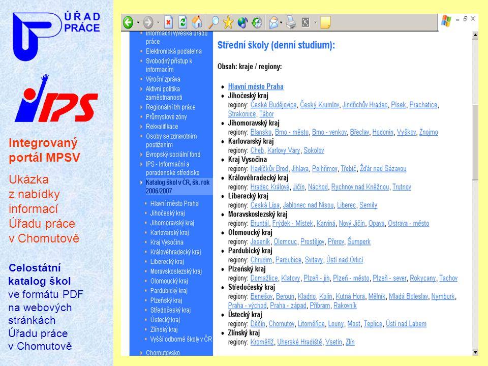 Integrovaný portál MPSV Ukázka z nabídky informací Úřadu práce v Chomutově Celostátní katalog škol ve formátu PDF na webových stránkách Úřadu práce v