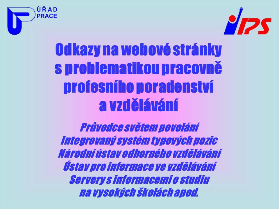 Odkazy na webové stránky s problematikou pracovně profesního poradenství a vzdělávání Průvodce světem povolání Integrovaný systém typových pozic Národ