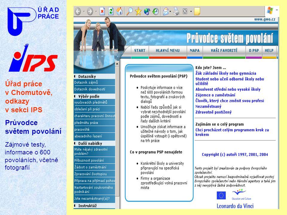 Úřad práce v Chomutově, odkazy v sekci IPS Průvodce světem povolání Zájmové testy, informace o 600 povoláních, včetně fotografií