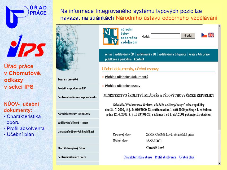 Úřad práce v Chomutově, odkazy v sekci IPS NÚOV- učební dokumenty: - Charakteristika oboru - Profil absolventa - Učební plán Na informace Integrovanéh