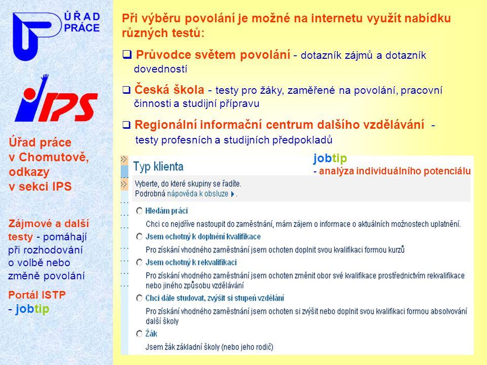 Úřad práce v Chomutově, odkazy v sekci IPS Zájmové a další testy - pomáhají při rozhodování o volbě nebo změně povolání Portál ISTP - jobtip Při výběr