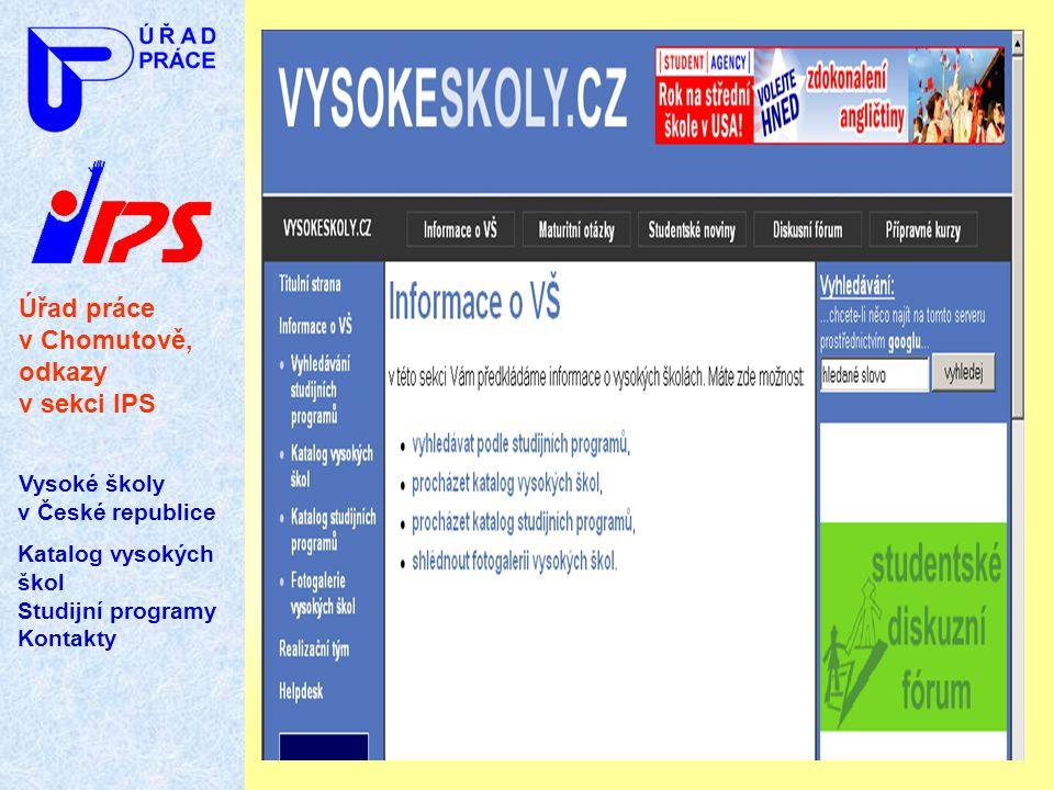 Úřad práce v Chomutově, odkazy v sekci IPS Vysoké školy v České republice Katalog vysokých škol Studijní programy Kontakty