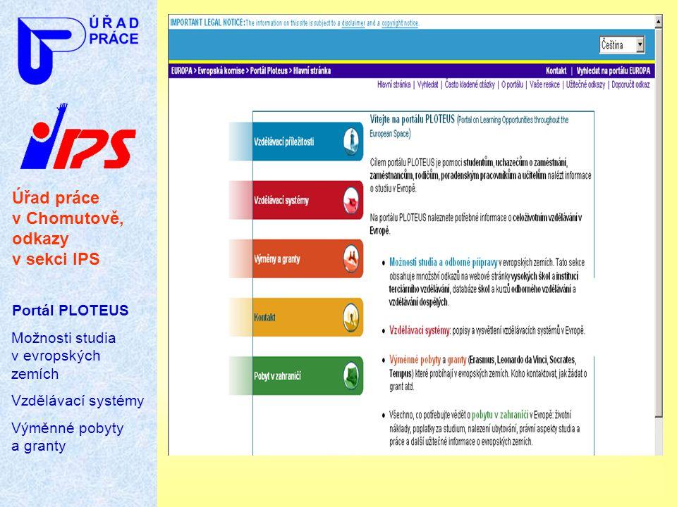 Úřad práce v Chomutově, odkazy v sekci IPS Portál PLOTEUS Možnosti studia v evropských zemích Vzdělávací systémy Výměnné pobyty a granty