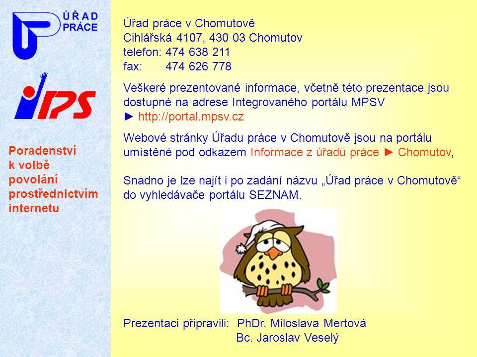 Poradenství k volbě povolání prostřednictvím internetu Úřad práce v Chomutově Cihlářská 4107, 430 03 Chomutov telefon: 474 638 211 fax: 474 626 778 Ve