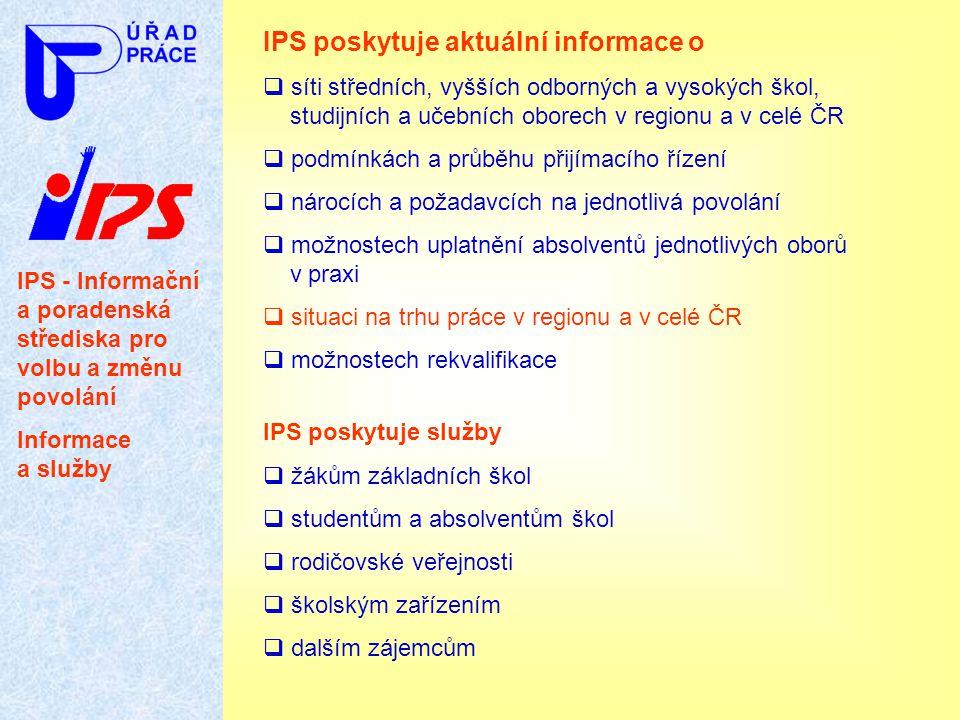 IPS - Informační a poradenská střediska pro volbu a změnu povolání Informace a služby IPS poskytuje aktuální informace o  síti středních, vyšších odb
