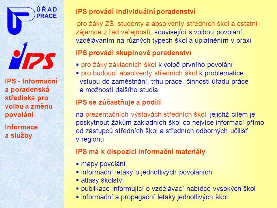 IPS - Informační a poradenská střediska pro volbu a změnu povolání Informace a služby IPS provádí individuální poradenství pro žáky ZŠ, studenty a abs
