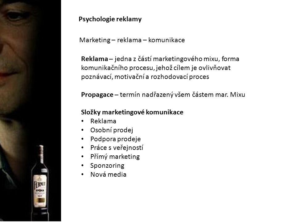 Psychologie reklamy Marketing – reklama – komunikace Psychologie reklamy – veškeré psychické a psychologicky relevantní objekty a procesy, které jsou obsahem marketingové komunikace, resp.