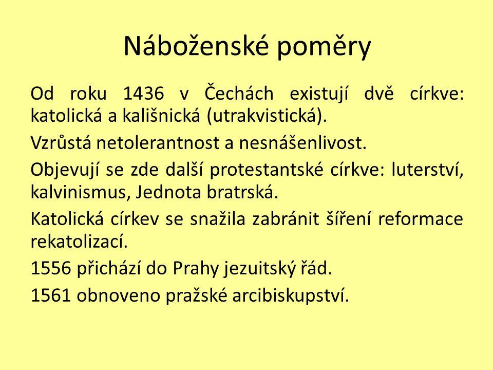 Náboženské poměry Od roku 1436 v Čechách existují dvě církve: katolická a kališnická (utrakvistická). Vzrůstá netolerantnost a nesnášenlivost. Objevuj