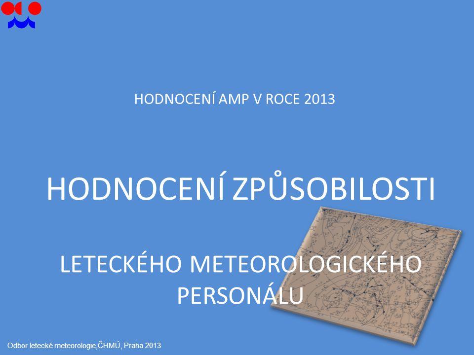 HODNOCENÍ ZPŮSOBILOSTI LETECKÉHO METEOROLOGICKÉHO PERSONÁLU Odbor letecké meteorologie,ČHMÚ, Praha 2013 HODNOCENÍ AMP V ROCE 2013