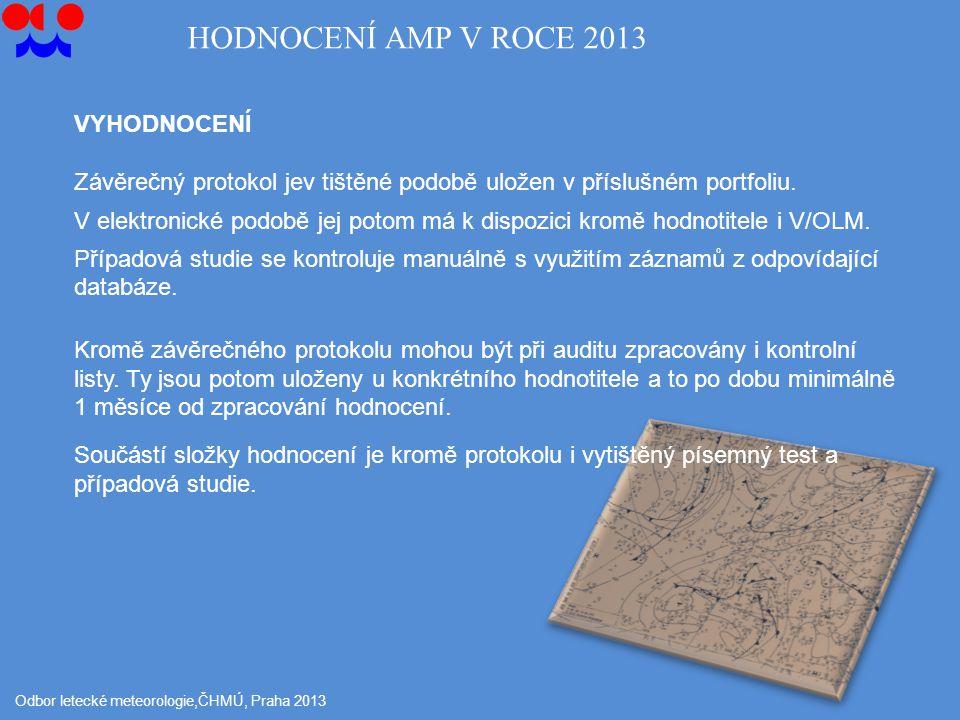 Odbor letecké meteorologie,ČHMÚ, Praha 2013 VYHODNOCENÍ Závěrečný protokol jev tištěné podobě uložen v příslušném portfoliu.