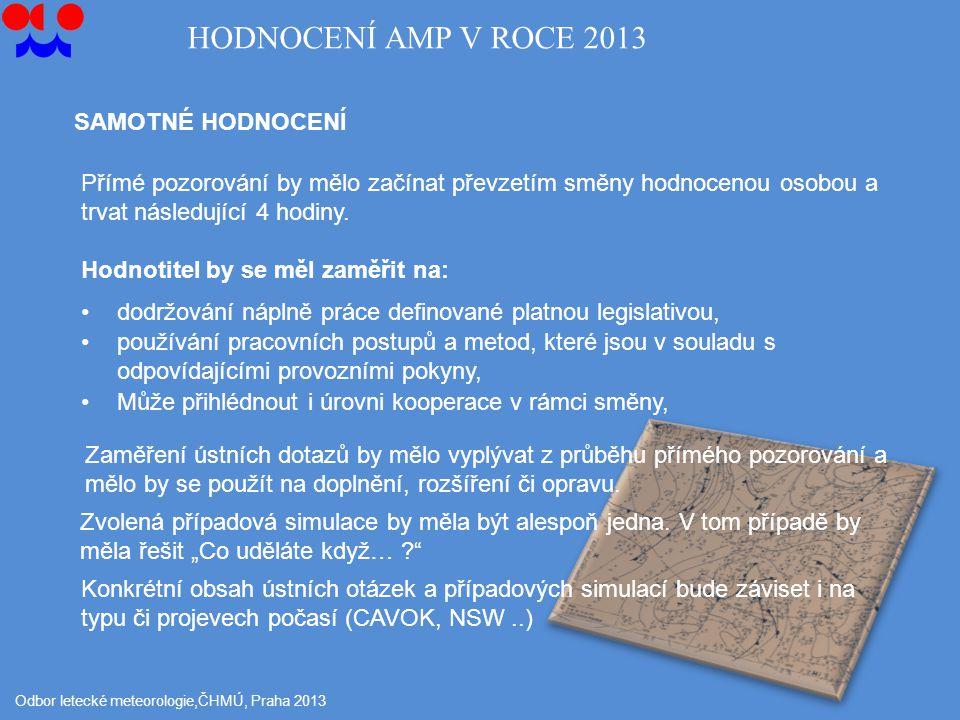 Odbor letecké meteorologie,ČHMÚ, Praha 2013 SAMOTNÉ HODNOCENÍ HODNOCENÍ AMP V ROCE 2013 Přímé pozorování by mělo začínat převzetím směny hodnocenou osobou a trvat následující 4 hodiny.