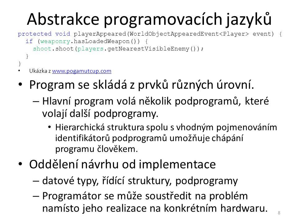 Abstrakce programovacích jazyků Program se skládá z prvků různých úrovní.
